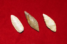 Set of Three Neolithic Flint Arrowheads