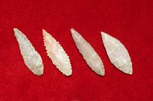 Set of Four Neolithic Flint Arrowheads