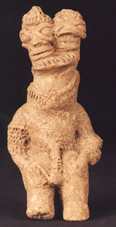 Bicephalous Komaland Terracotta Sculpture