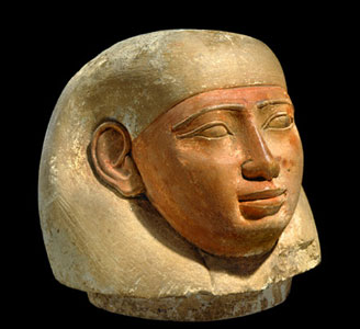 Stone Lid from a Canopic Jar Depicting Imsety
