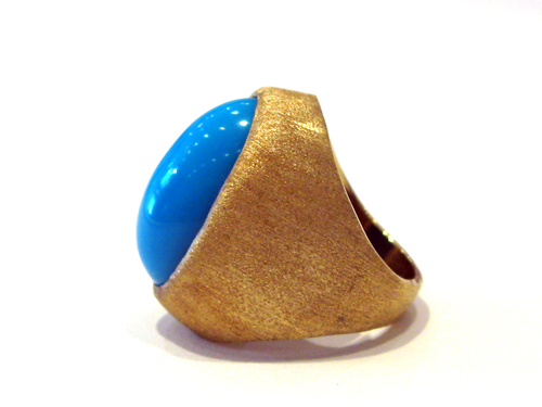 Cabochon Turquoise Set in an 18 Karat Gold Ring