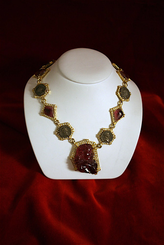 Diamond Studded Gold Necklace with Carved Pink Tourmaline Gemstones and Seven Roman Silver Denarii