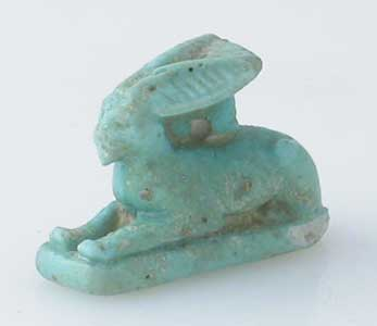 New Kingdom Faience Amulet of a Hare