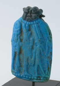 Faience Amulet Depicting the Theban Triad