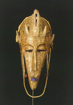 Marka Wooden Face Mask Covered with Brass Sheets