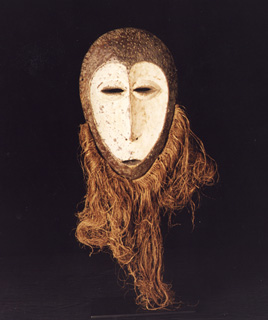 Lega Wooden Face Mask with Raffia Beard