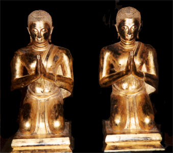 Pair of Rattanakosin Gilt Wooden Sculptures of Seated Disciples