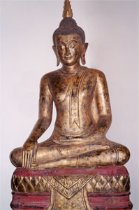 Rattanakosin Gilt Wooden Sculpture of the Buddha Seated in the Dhyanasana Position