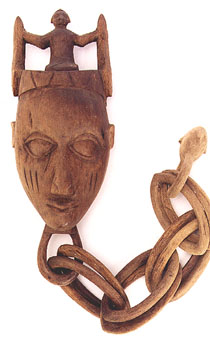 Baule Wooden Mask with a Chain