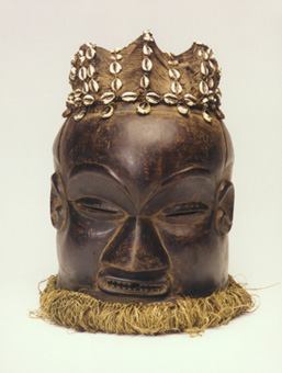 Kuba Wooden Helmet Mask with Raffia Fibers