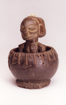 Hemba Divination Gourd with a Wooden Figure