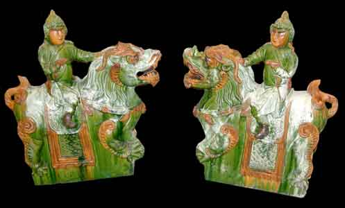 Pair of Ming Glazed Terracotta Architectural Tiles Depicting Dragons and Riders