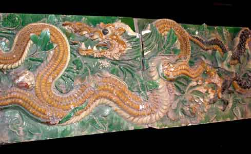 Pair of Ming Glazed Terracotta Temple Wall Tiles Depicting Two Dragons