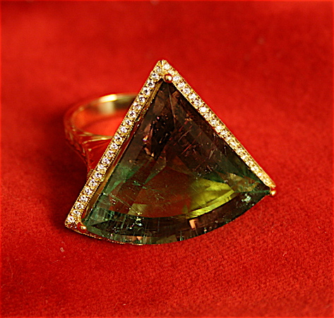 Diamond Studded Gold Ring Featuring a Triangular Watermelon Tourmaline