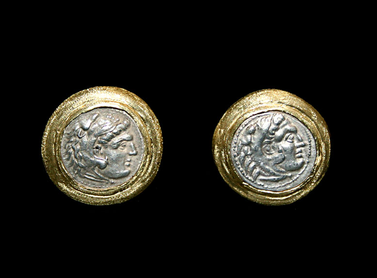 Gold Cufflinks Featuring a Pair of Silver Coins of Alexander the Great