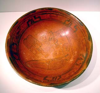 Mayan Terracotta Bowl Depicting a Scribe