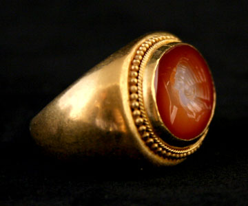 Gold Ring Featuring a Roman Carnelian Intaglio of an Empress