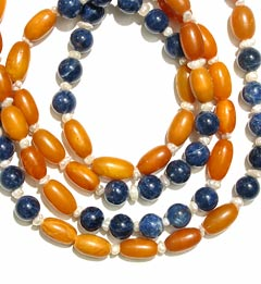 Necklace Of Amber, Sodalite, Freshwater Pearls