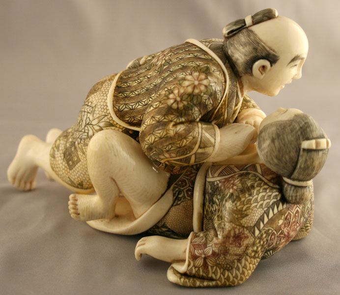 Japanese Ivory Shunga Netsuke of an Erotic Couple
