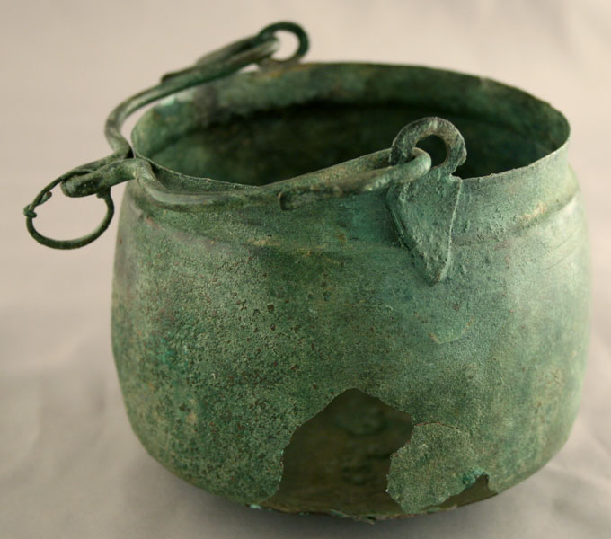 Graeco-Roman Bronze Vessel Featuring a Handle with Swan Head Terminals