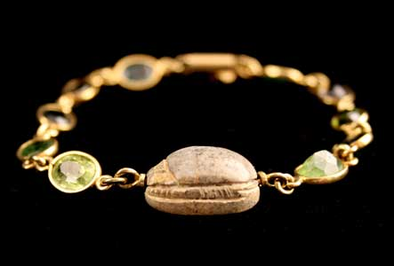 Gold and Tourmaline Bracelet Featuring a Scarab