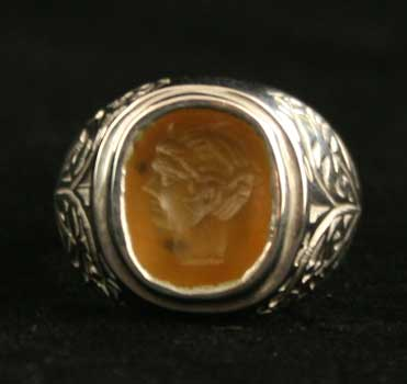 White Gold Ring Featuring a Hellenistic Carnelian Intaglio of a Youthful Deity