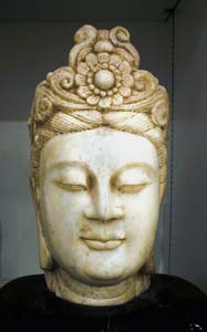 Carved Marble Head of Guanyin