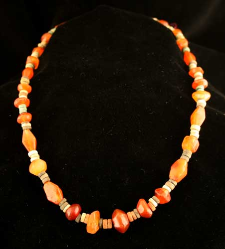 Roman Carnelian and Egyptian Faience Bead Necklace