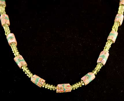 Venetian Glass Trade Bead and Peridot Bead Necklace