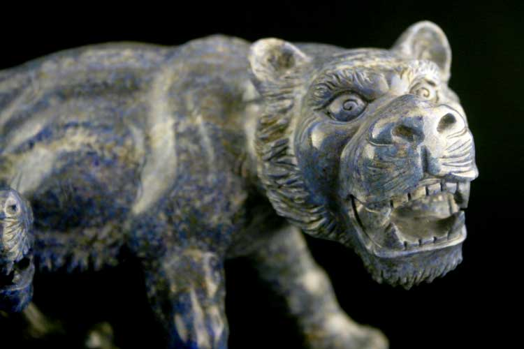 Lapis Lazuli Sculpture of a Tiger and Cub