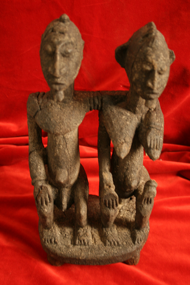 Dogon Wooden Nommo Seated Couple