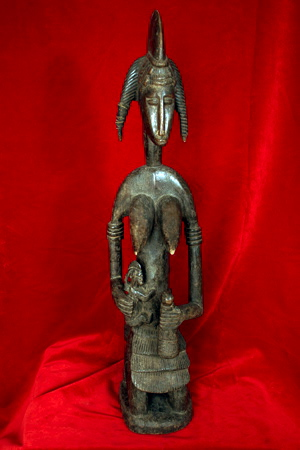 Senufo Wooden Sculpture of a Mother and Child