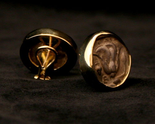 Earrings Featuring a Pair of Silver Staters of Rhodes