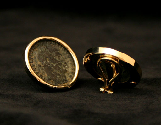 Clip-On Earrings Featuring a Pair of Bronze Coins of Constantine the Great