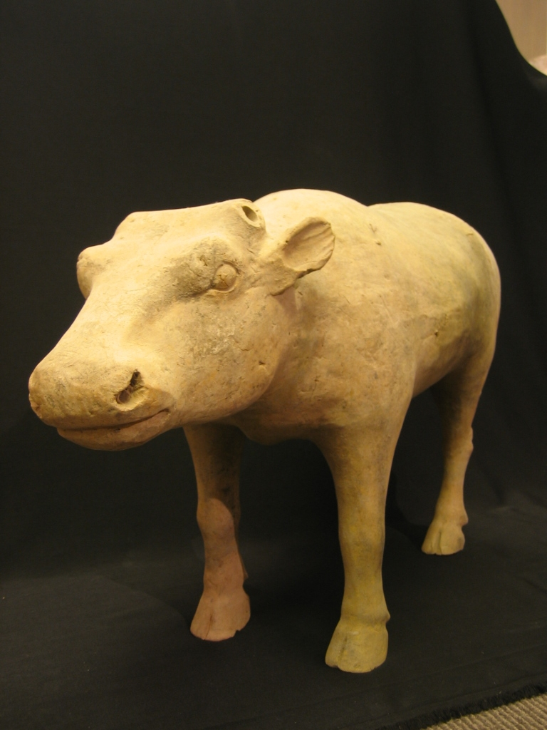 Large Han Dynasty Painted Pottery Bull