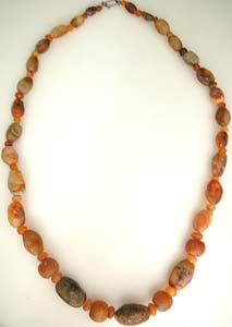 Carnelian and Agate Bead Necklace