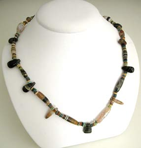 Agate And Faience Bead Necklace