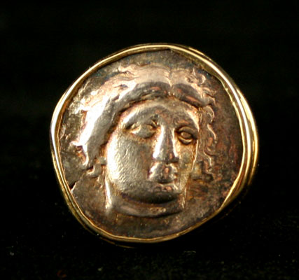 Gold Ring Featuring a Silver Didrachm from the Island of Rhodes