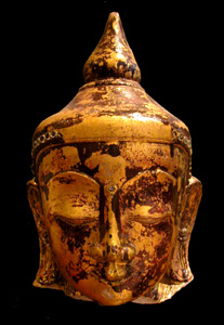 Shan Gilt and Lacquered Marble Head of Buddha