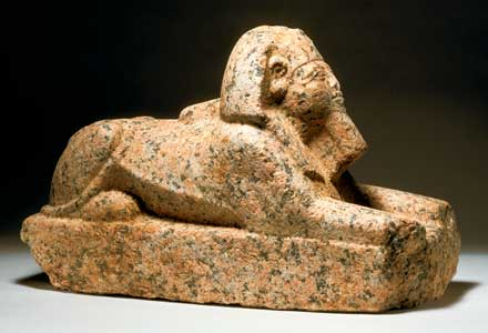 Nubian Red Granite Sculpture of a Sphinx