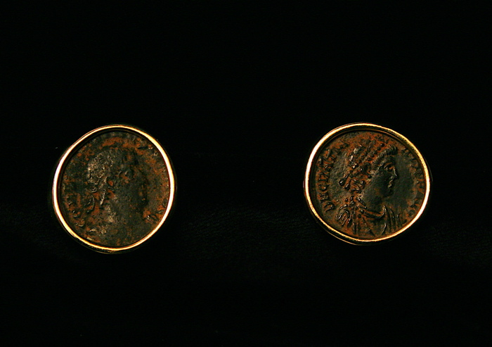 Two Roman Bronze Coins Mounted in 18 Karat Gold Earings