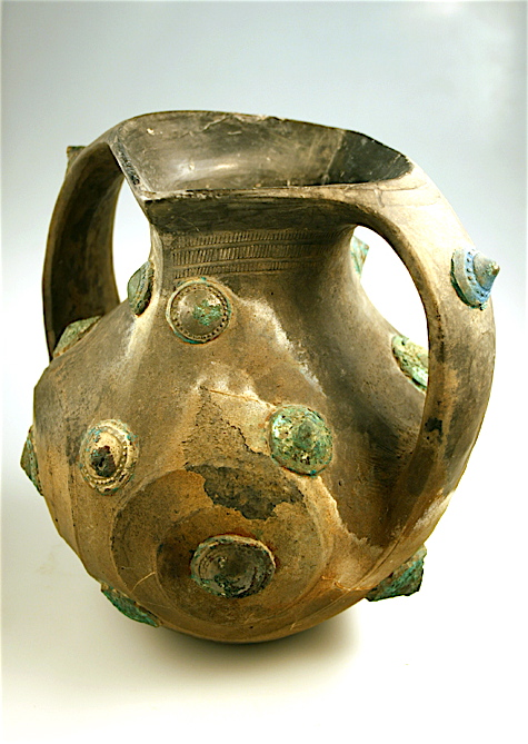 """Lifan"" Terracotta Amphora with Bronze, Silver and Gilt Appliqué"