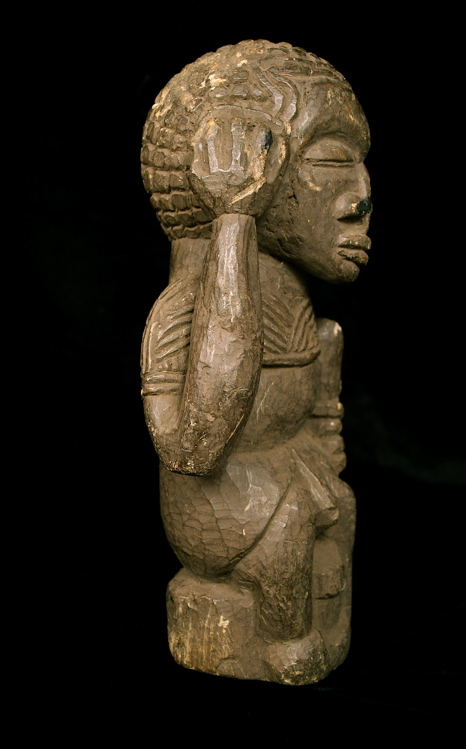 Kissi Soapstone Nomoli Sculpture of a Seated Figure