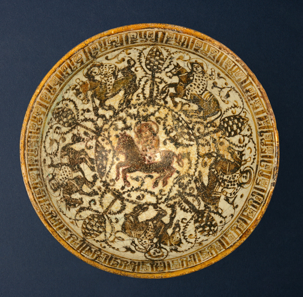 Kashan lustre bowl with figures on horses