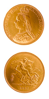 British Five Pound Gold Coin of Queen Victoria
