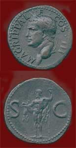 Roman Bronze Coin of General Agrippa Minted Under Caligula