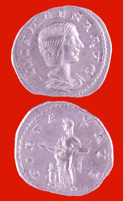 Silver Denarius of Julia Maesa