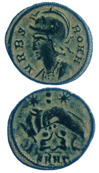 Bronze Coin Commemorating Rome Issued Anonymously During the Reign of Constantine I the Great