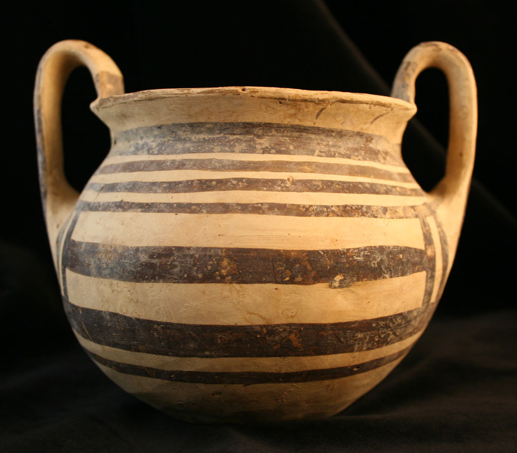 Daunian Bichrome Terracotta Bowl with Two Handles