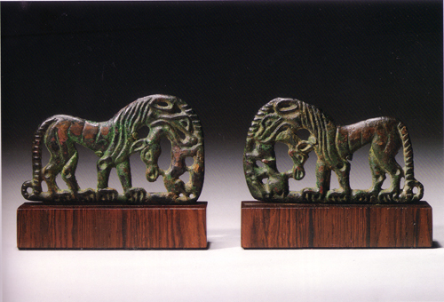 A Pair of Ordos Bronze Buckle Plaques